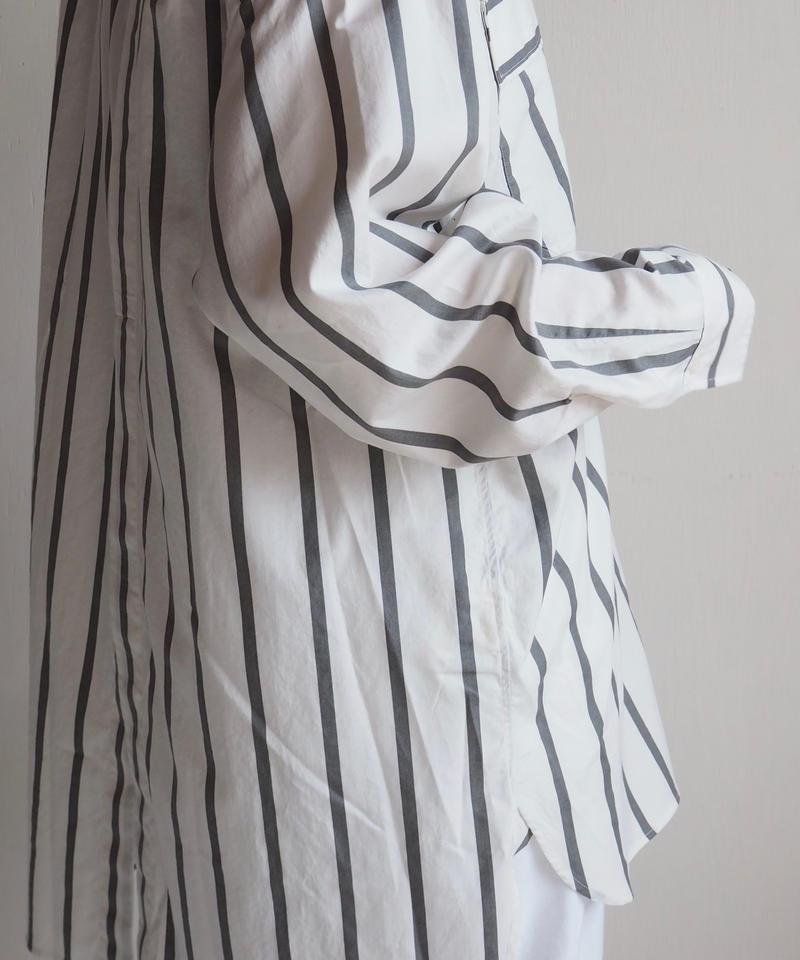 """UNUSED """"US1486 Stripe Shirt. """" White×Gray women"""