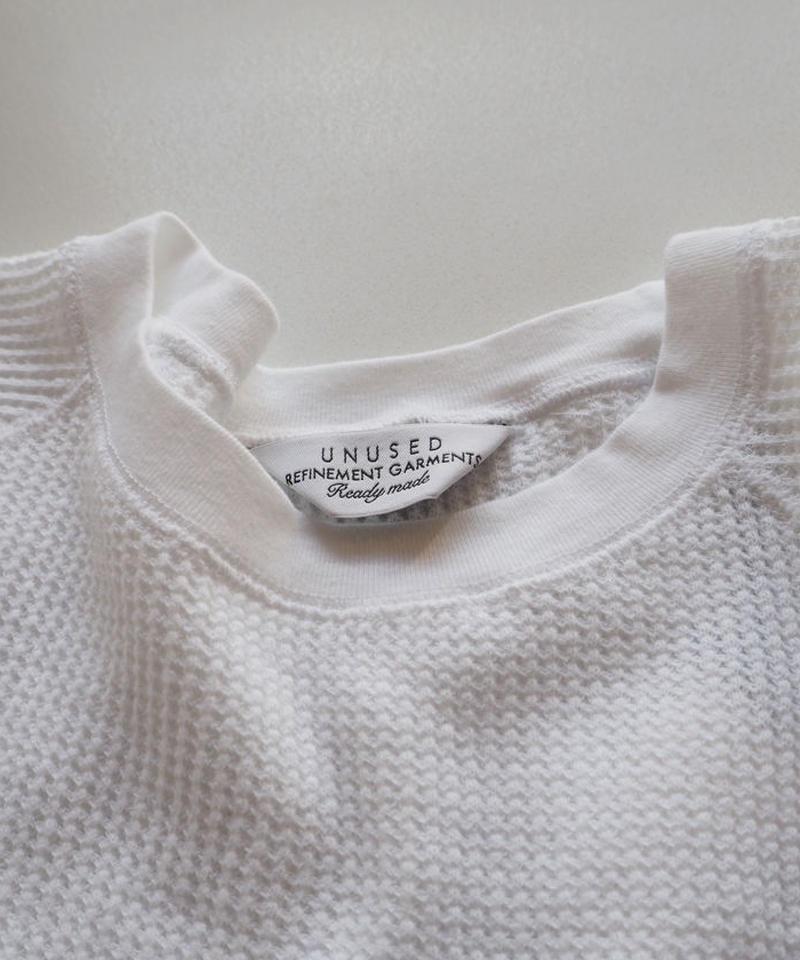 """UNUSED """"US0765 Long-Sleeve Waffle T-shirt. """" White women's"""