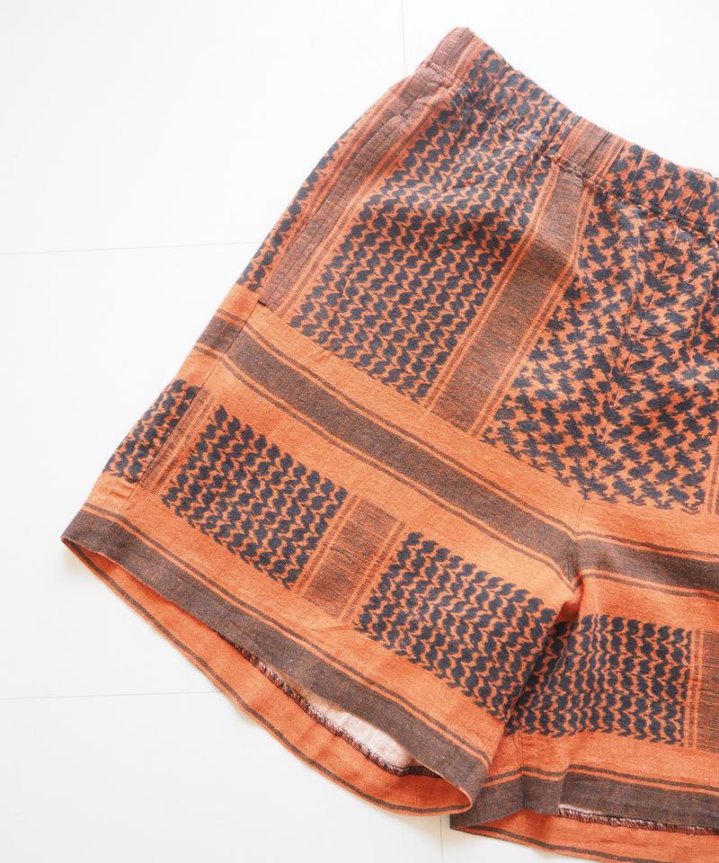 "UNUSED ""UW0767 afghan print shorts."" Orange unisex"