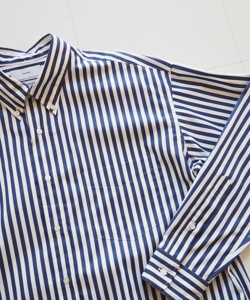 "Graphpaper ""Thomas Mason L/S B.D Shirt""  White Stripe"