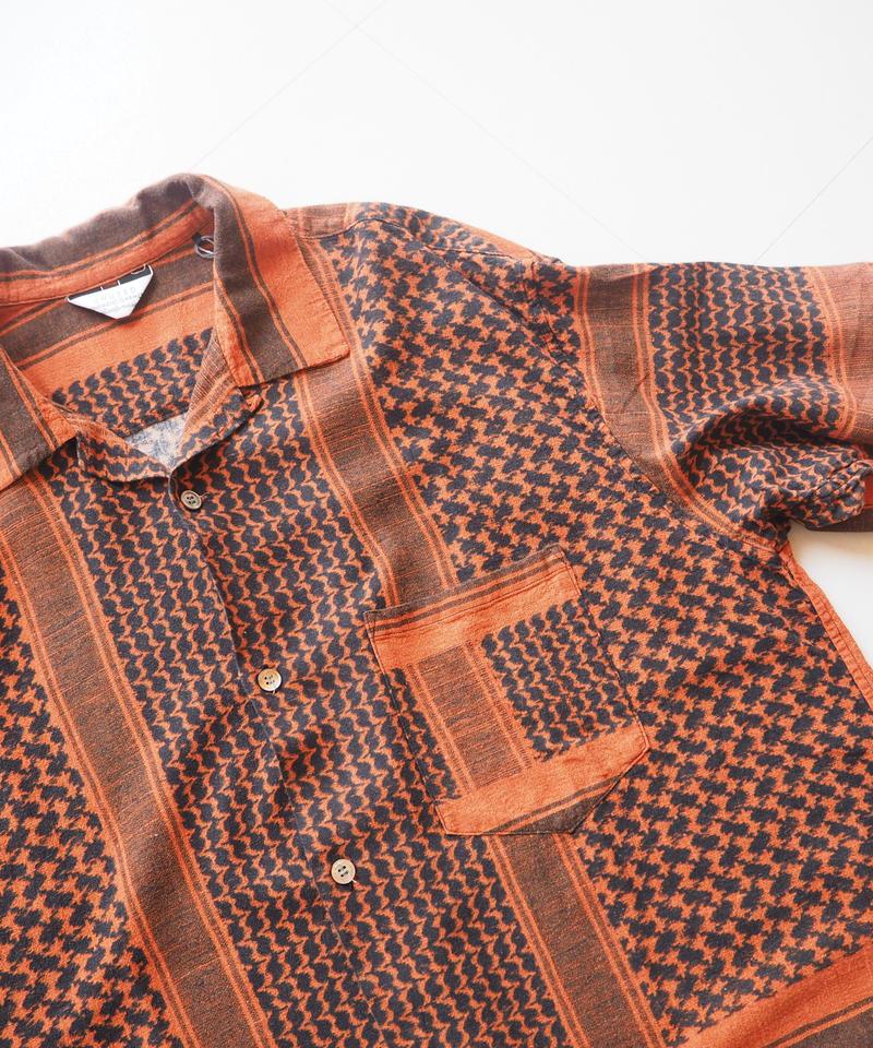 """UNUSED """"US1623 Afghan print short sleeve shirt. """" Orange unisex"""