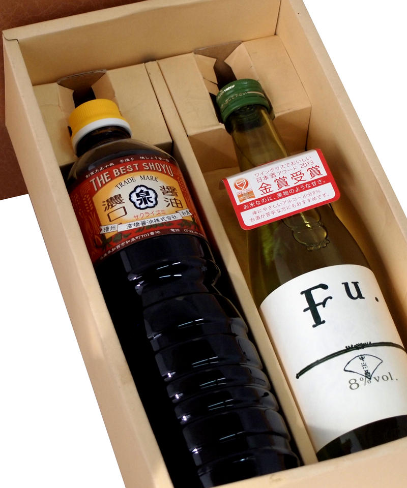 【ギフト】特選醤油地酒セット 濃口醤油(1000ml)富久錦低アルコール酒fu(500ml)【箱代含む】