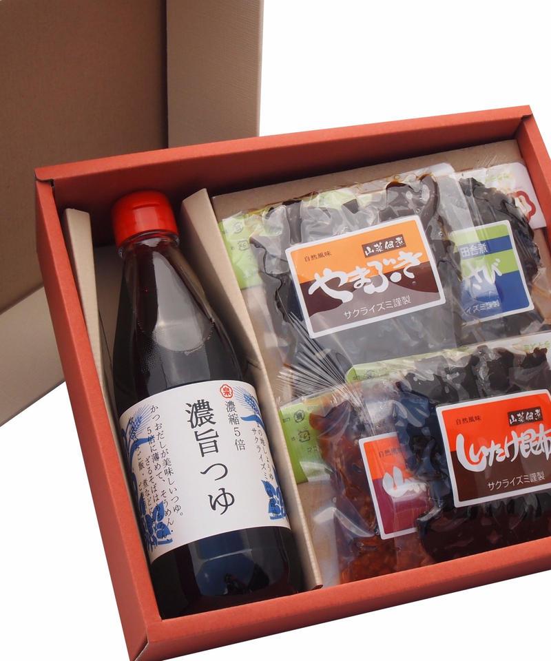 【ギフト】特選醤油佃煮セット 濃旨つゆ(360ml) ・もろみ・佃煮3種【箱代含む】