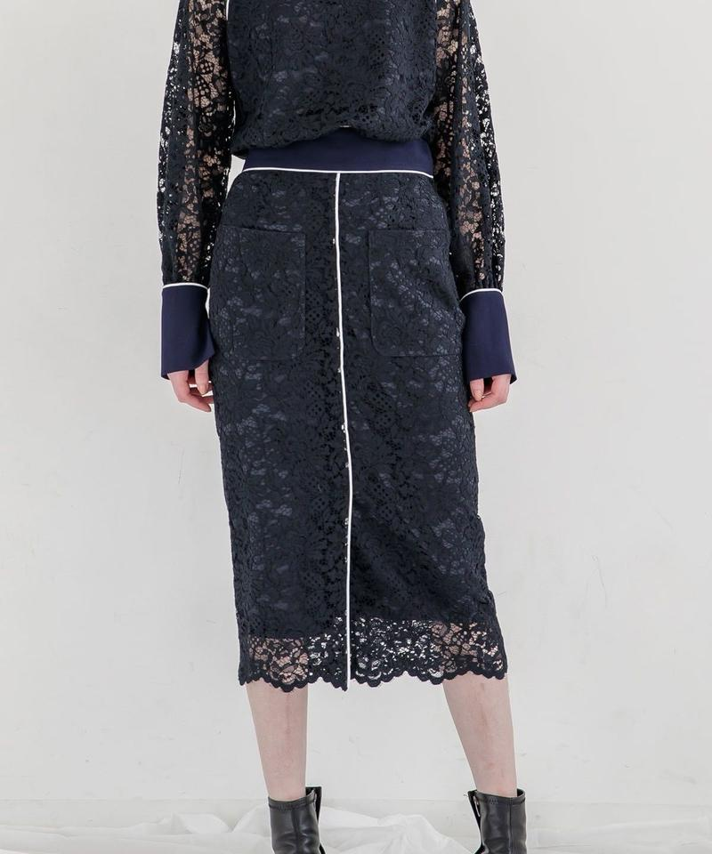 [19AW] PIPING DESIGN LACE SKIRT