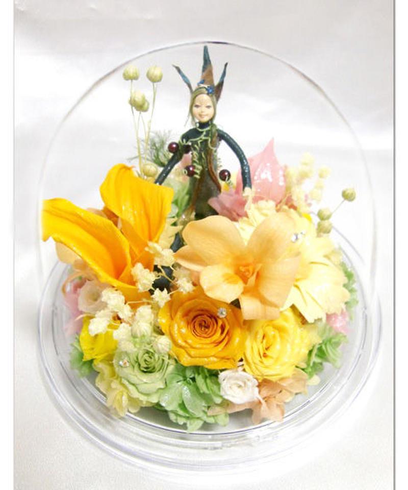 【プリザーブドフラワーオルゴールアレンジ】お花の妖精と星に願いをのメロディーと一緒に