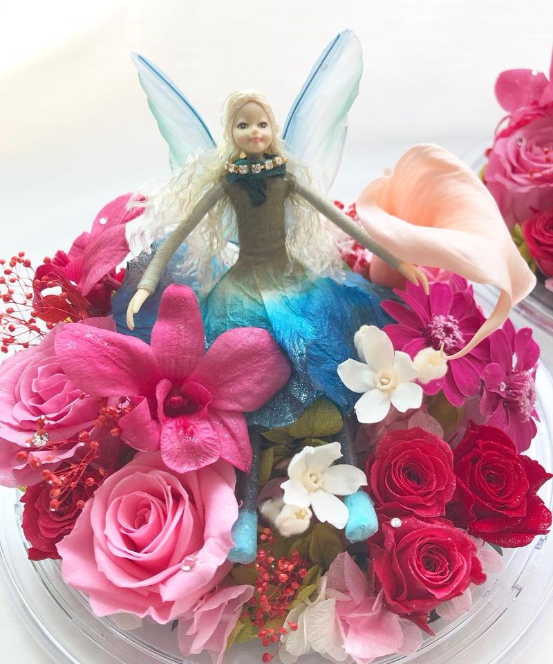 プリザーブドフラワーオルゴールアレンジ妖精と星に願いをのメロディーと一緒に