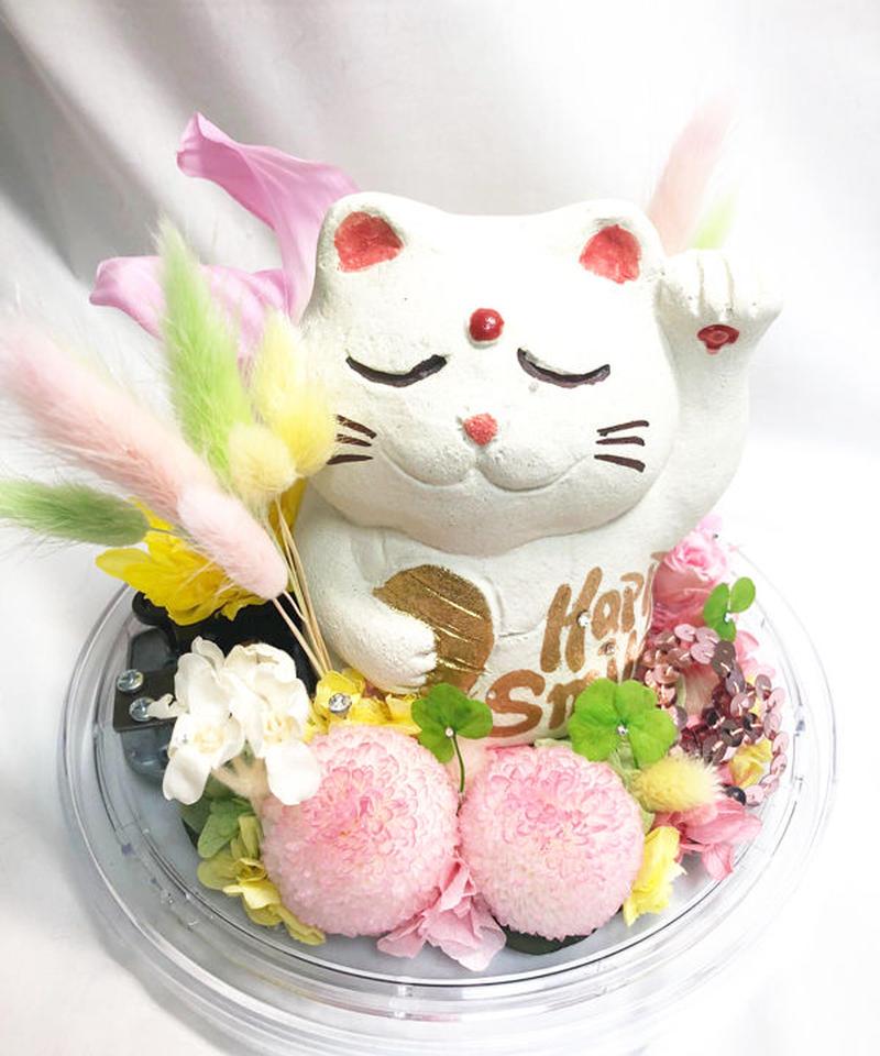 プリザーブドフラワーオルゴールアレンジ HappySmile招き猫