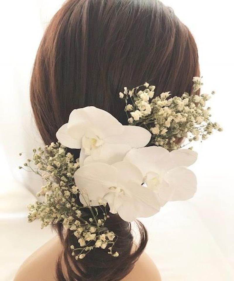 【プリザーブドフラワー/本当の胡蝶蘭とかすみ草の髪飾りヘッドドレス】