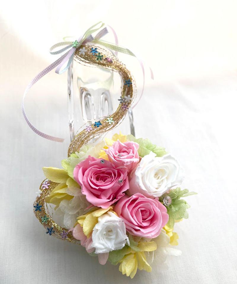 【プリザーブドフラワー/ガラスの靴ミニシリーズ】プリンセスの金色の髪の魔法のミニサイズのガラスの靴