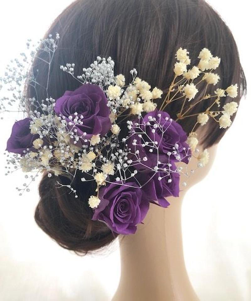 【ヘッドドレス/髪飾りプリザーブドフラワー/ウェディング・前撮り和装】紫の薔薇