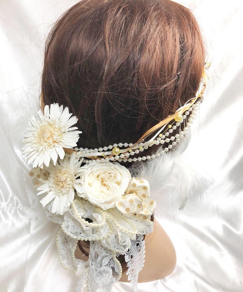 【女神様フラワーヘッドドレス/ガーベラとローズローズのプリザーブドフラワー/ウェディング】