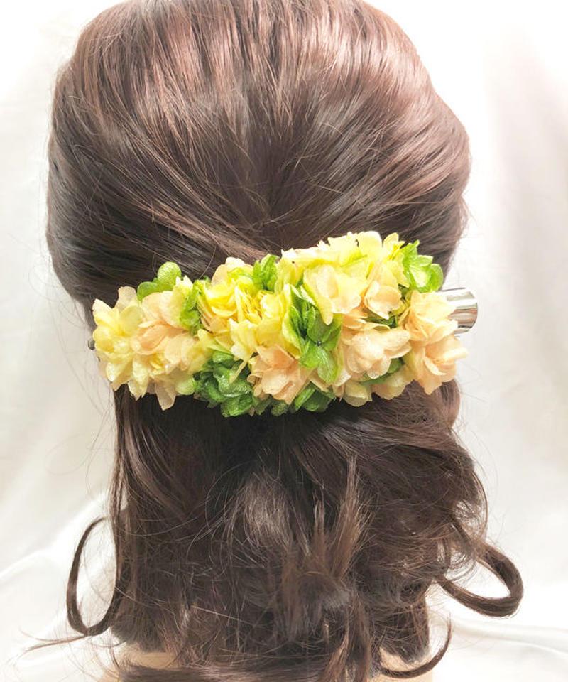 【プリザーブドフラワー/ヘアアクセサリーシリーズ/本当の紫陽花の髪飾り】フレッシュな3色の紫陽花を使用した明るくキュートな髪飾り