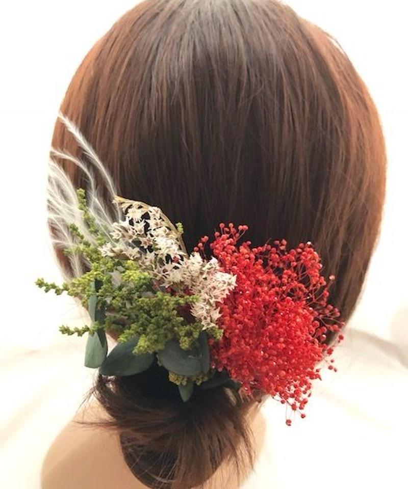 【プリザーブドフラワー/かすみ草とグリーンと小花のボタニカルな髪飾りヘッドドレス・ヘアピン】