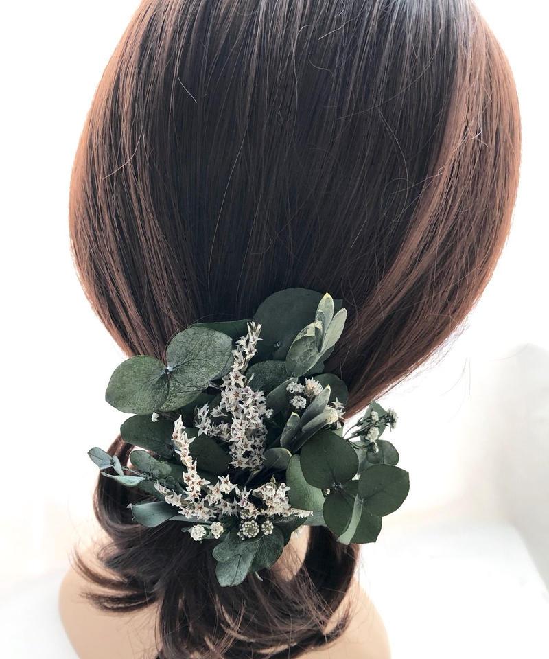 【ユーカリのヘアクリップ/プリザーブドフラワー/髪飾り・ボタニカル】