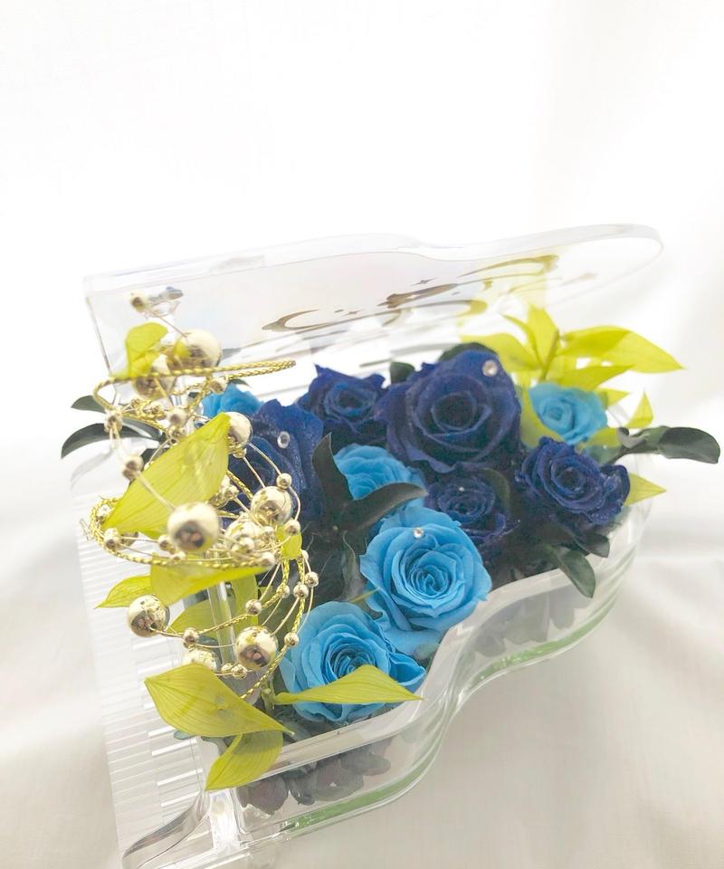 【プリザーブドフラワー/グランドピアノシリーズ】青とブルーの薔薇と葉を添えて透き通るなうなメロディーの流れを感じて【リボンラッピング付き送料無料】