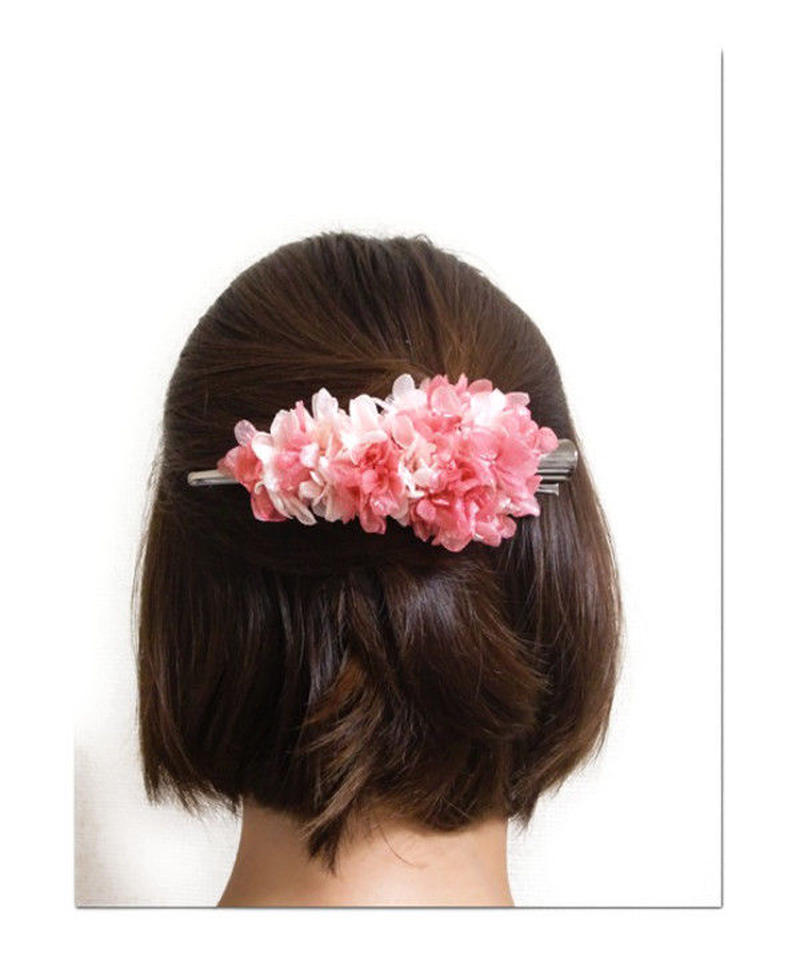 【プリザーブドフラワー/ヘアアクセサリーシリーズ/本当の紫陽花の髪飾り】甘い夢で目覚めた朝に選びたい。桜色とベリーピンクのスゥイートな髪飾り