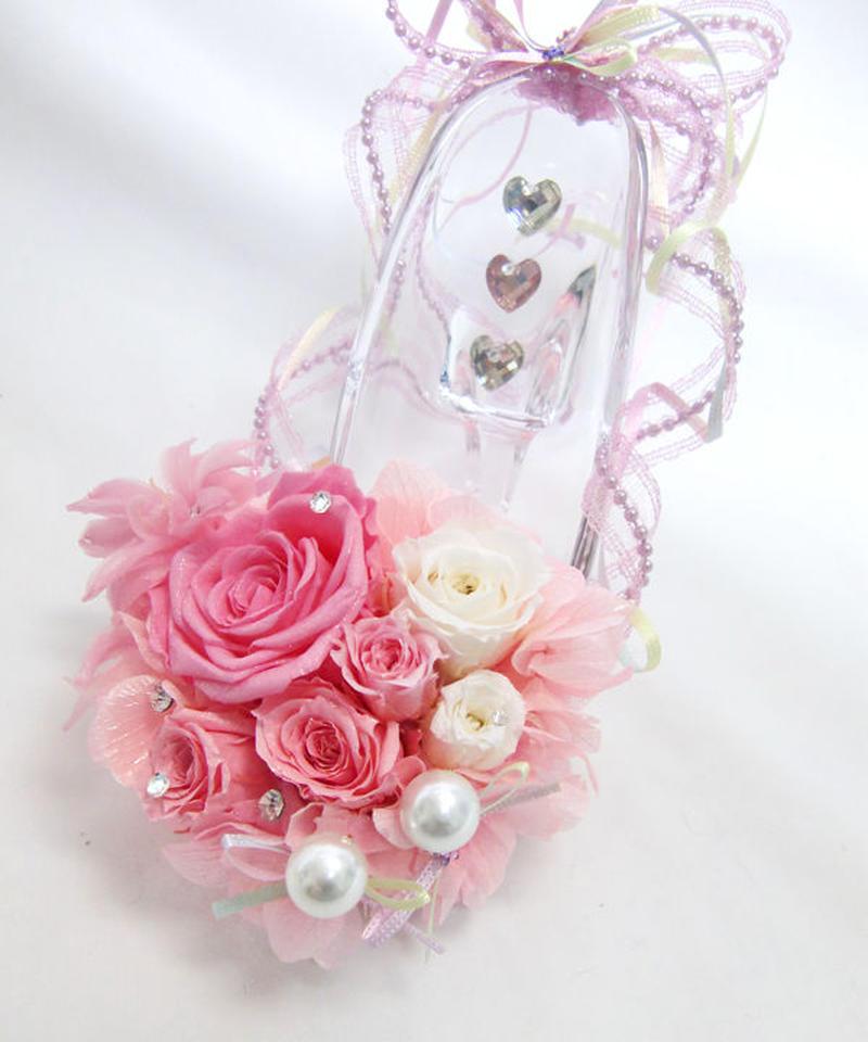 【プリザーブドフラワー/ガラスの靴シリーズ】ガラスの靴と薔薇たちがいっしょに見るロマンチックでスイートな夢
