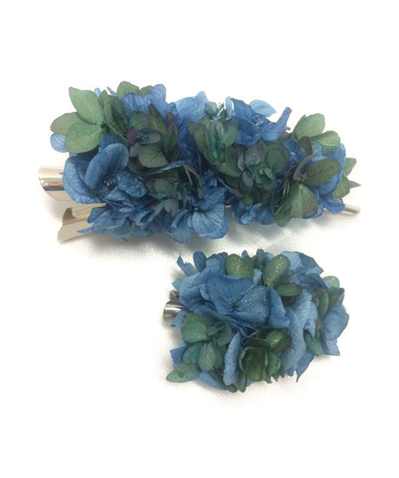 【プリザーブドフラワー/ヘアアクセサリーシリーズ2点セット/本当の紫陽花の髪飾り】落ち着きのある美しく神秘的な表情のブルーとグリーンの髪飾り【ラッピング付き】