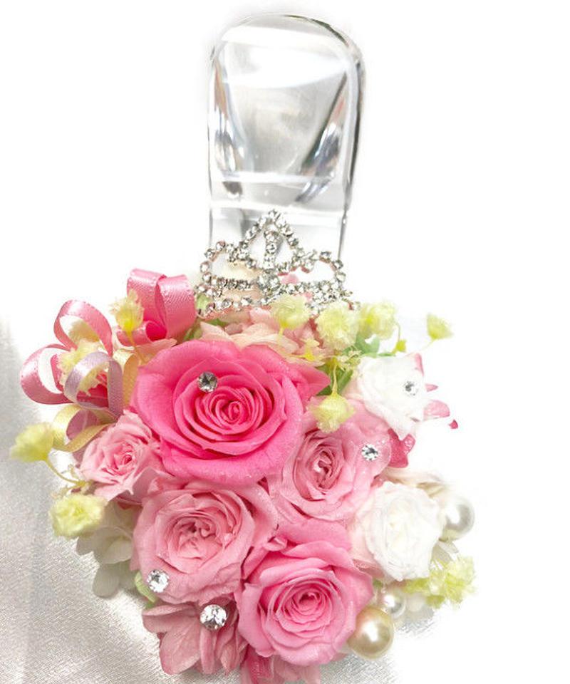 【プリザーブドフラワー/本当のガラスの靴シリーズ】シンデレラのガラスの靴とピンクの薔薇とティアラのささやき
