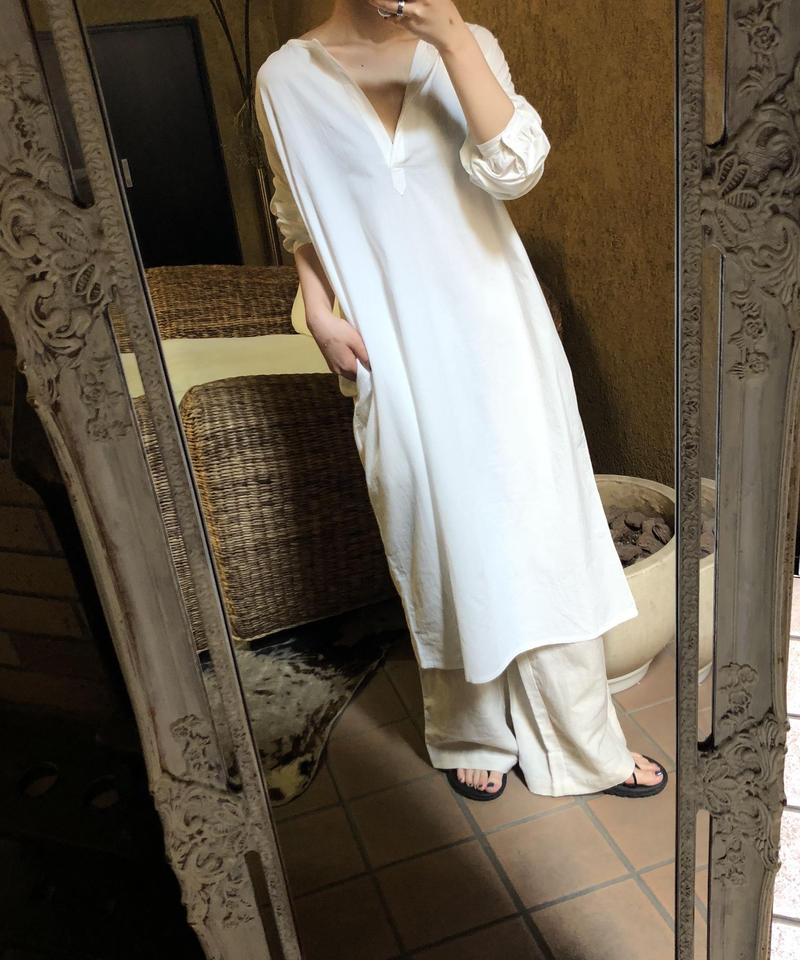 """Cotton key neck dress """"4color""""[203927690]"""