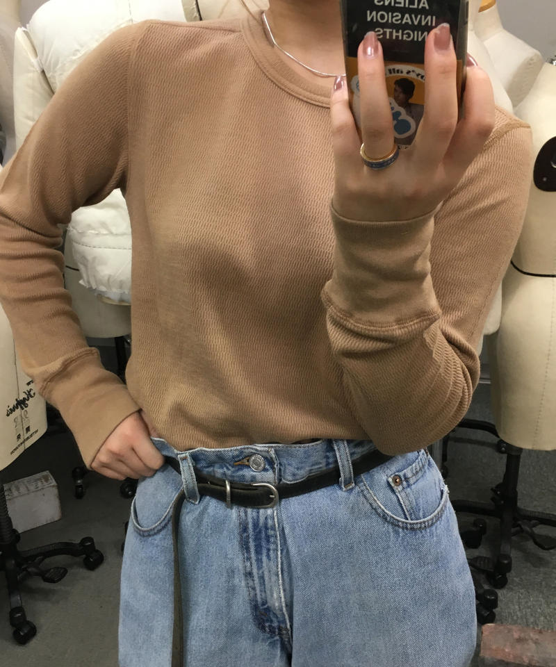 """Waffle crew neck pull over  """"4color"""" [205947738]"""