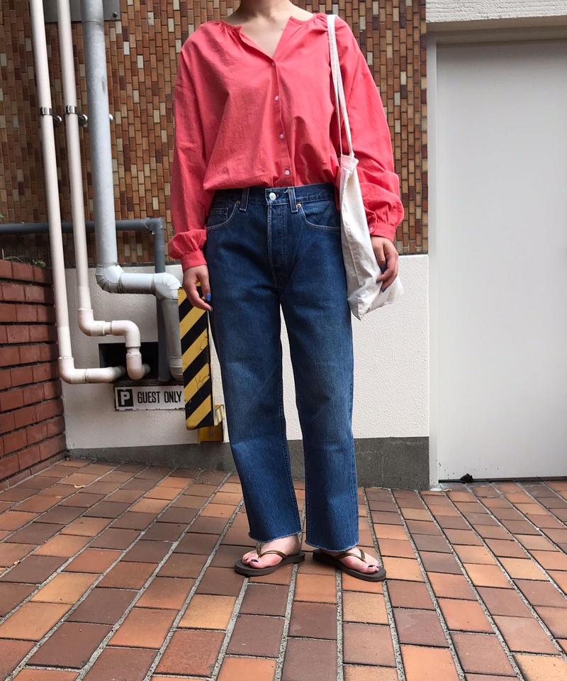 "Cotton no collar blouse ""4color""[203927689]"