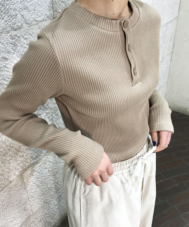 """Rib jersey Henley neck """"2color""""[211927535]"""