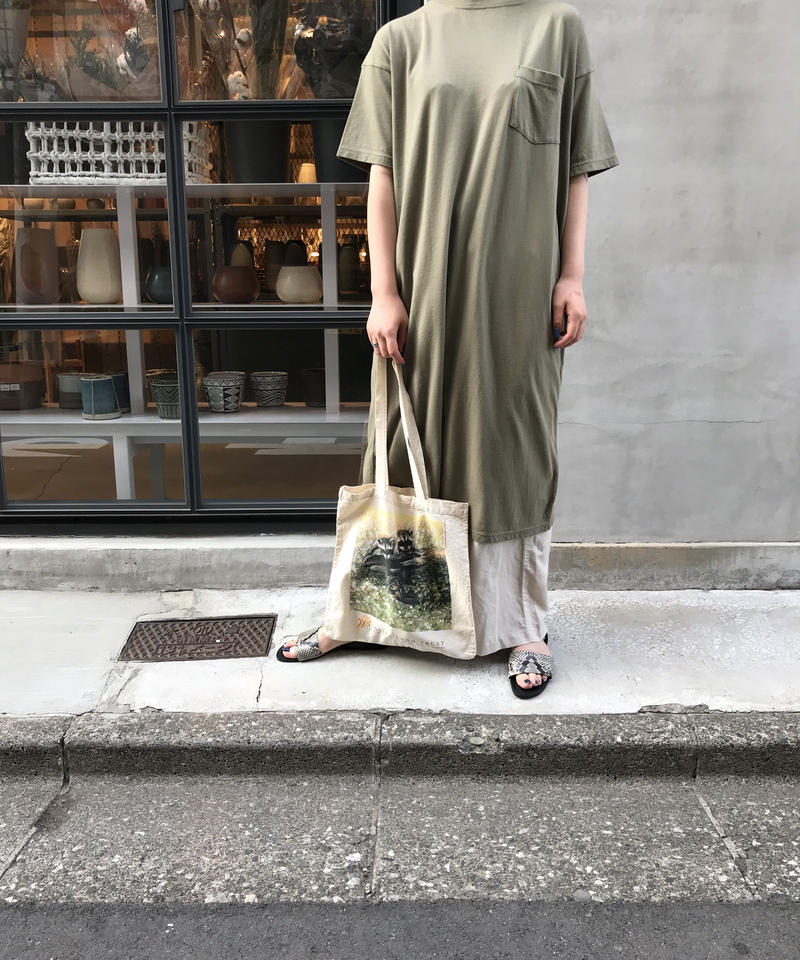 "19/- Recycle jersey back slit dress ""6color"" [203947678]"