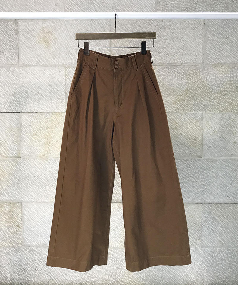 """Cotton twill tack wide pants  """"2color""""[209937527]"""