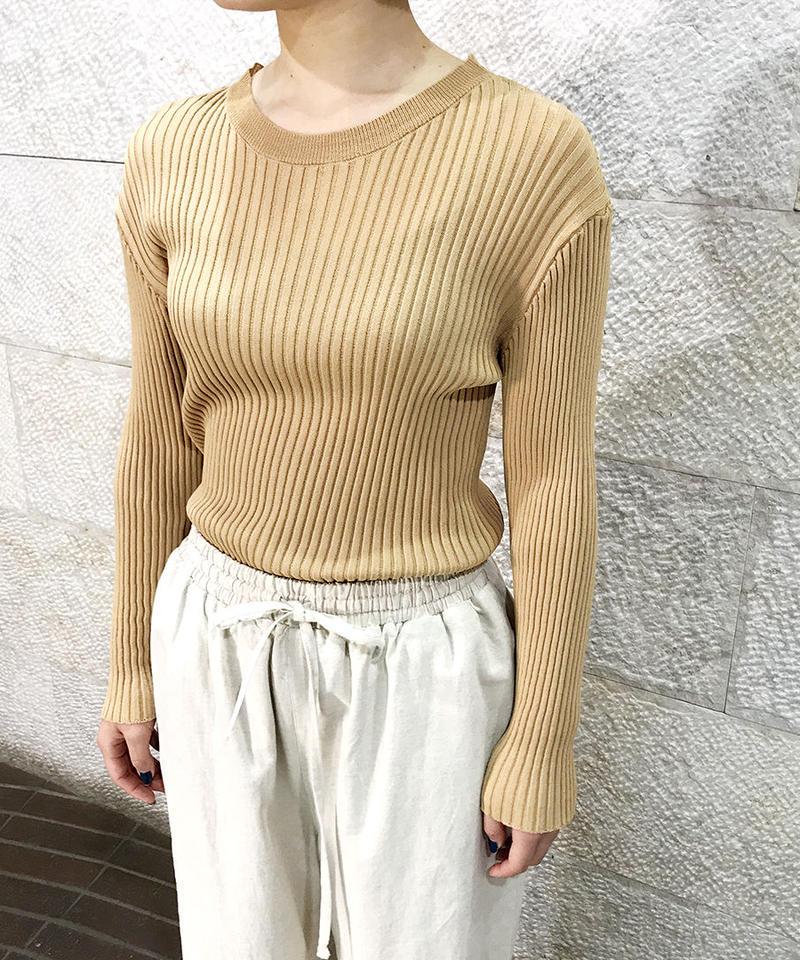 """Rib knit Crew neck PO """"4color""""[211927557]"""
