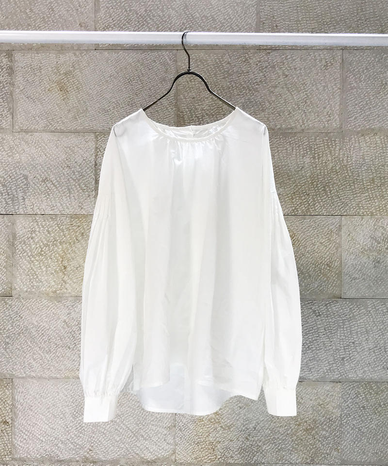 """Typewriter Cross Gather blouse  """"3color""""[209927518]"""