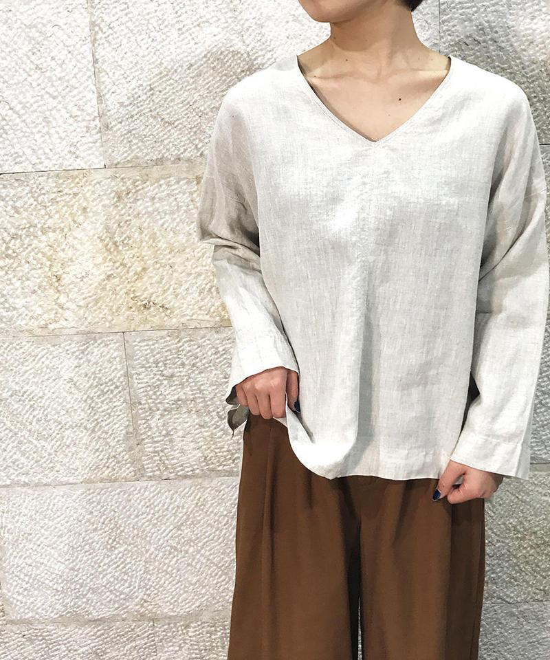 "Linen v neck blouse ""2color""[211927572]"