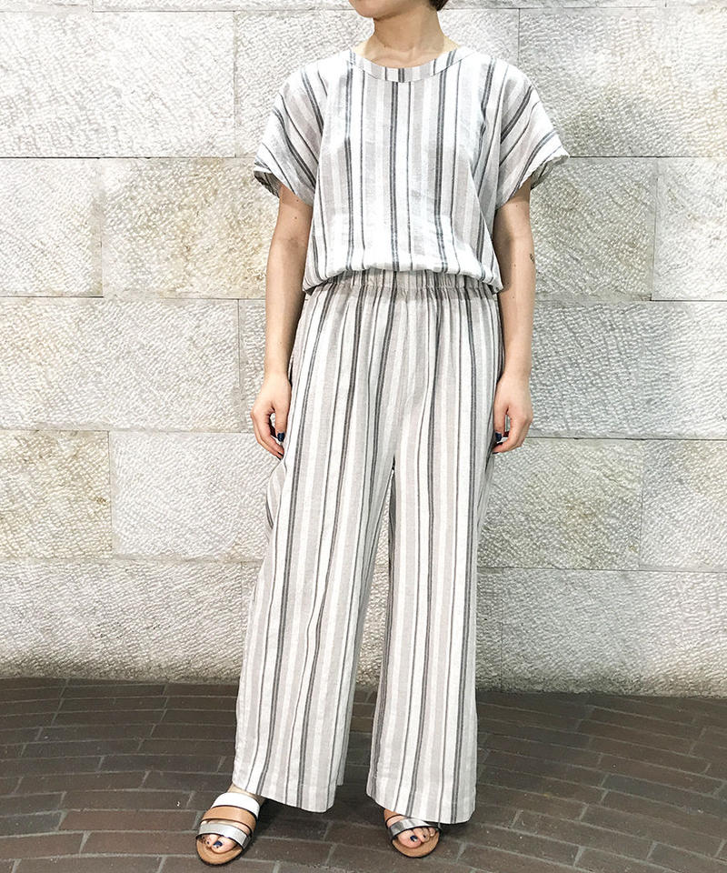 "Linen cotton stripe salopette ""1color""[211937583]"