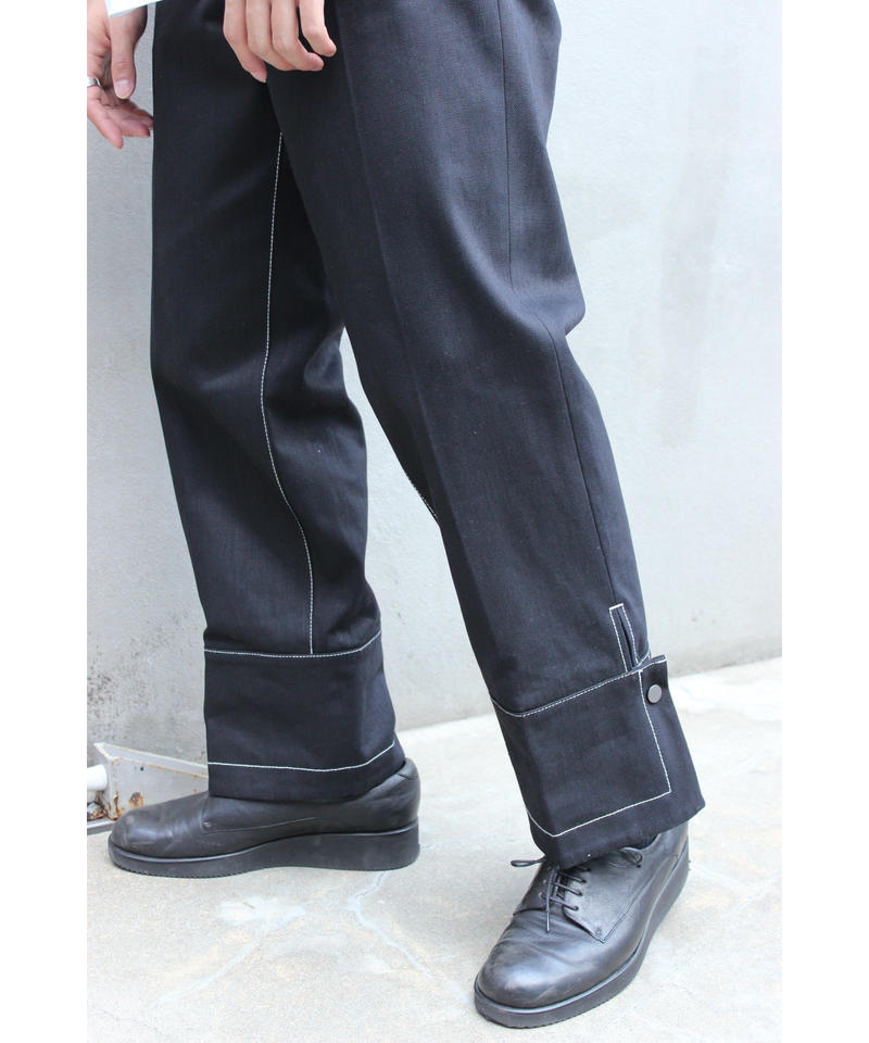UNDER VOLUME SNAPED PANTS【BLK STITCH】