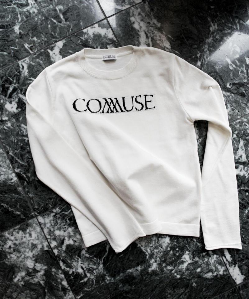 """L. """"COMMUSE """" JACQUARD LOGO KNIT 【WHT】"""