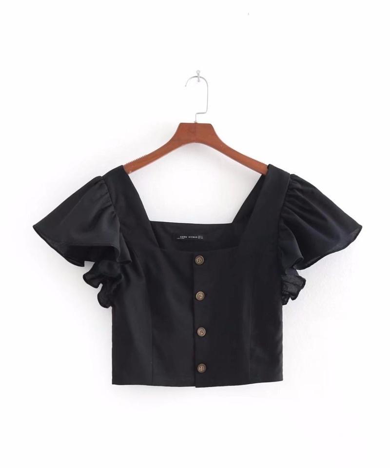 TA-015  Black Linen Square Collar Blouse