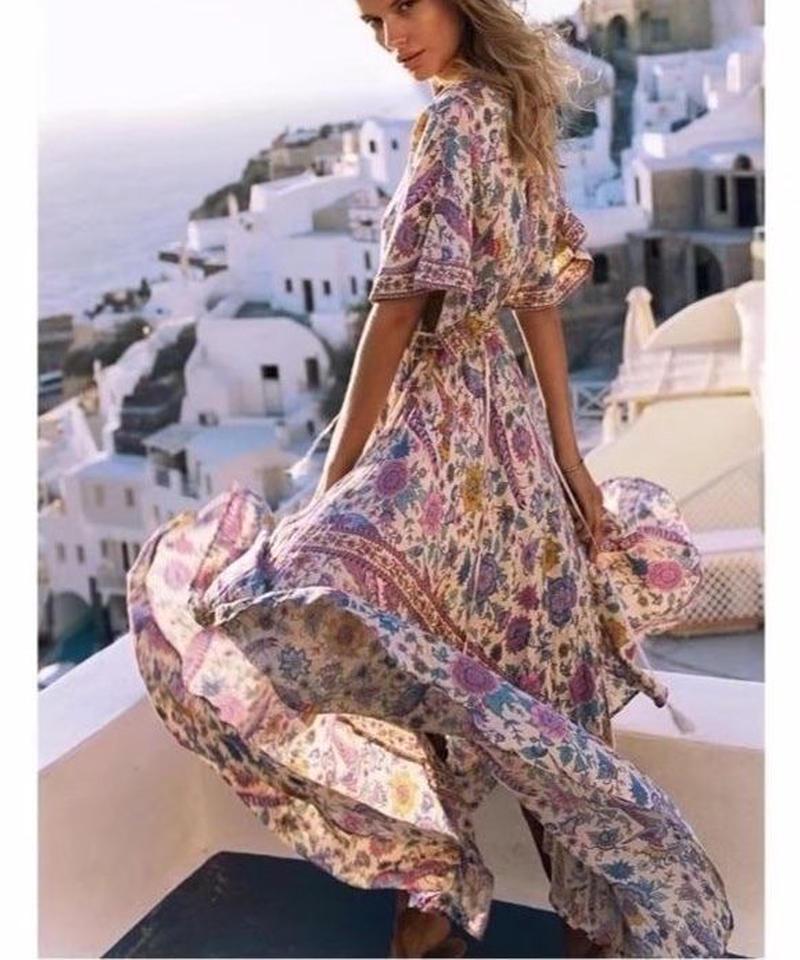 TA-031 Boho Off-white Flutter Dress
