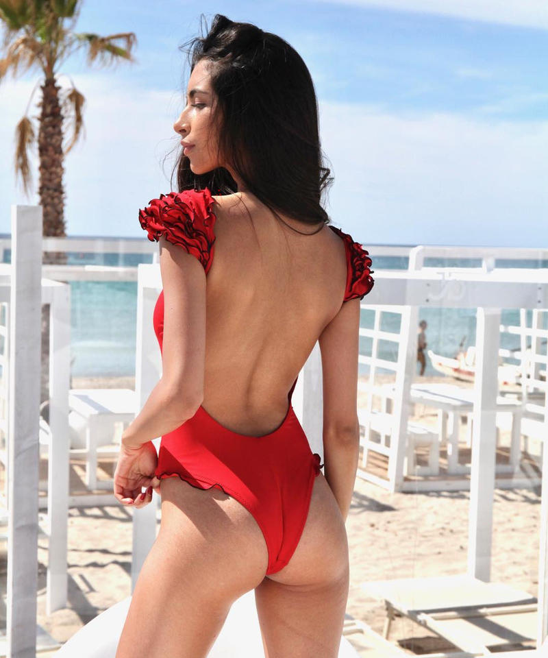 TB-152  Red Shoulder Petit Frill One Piece