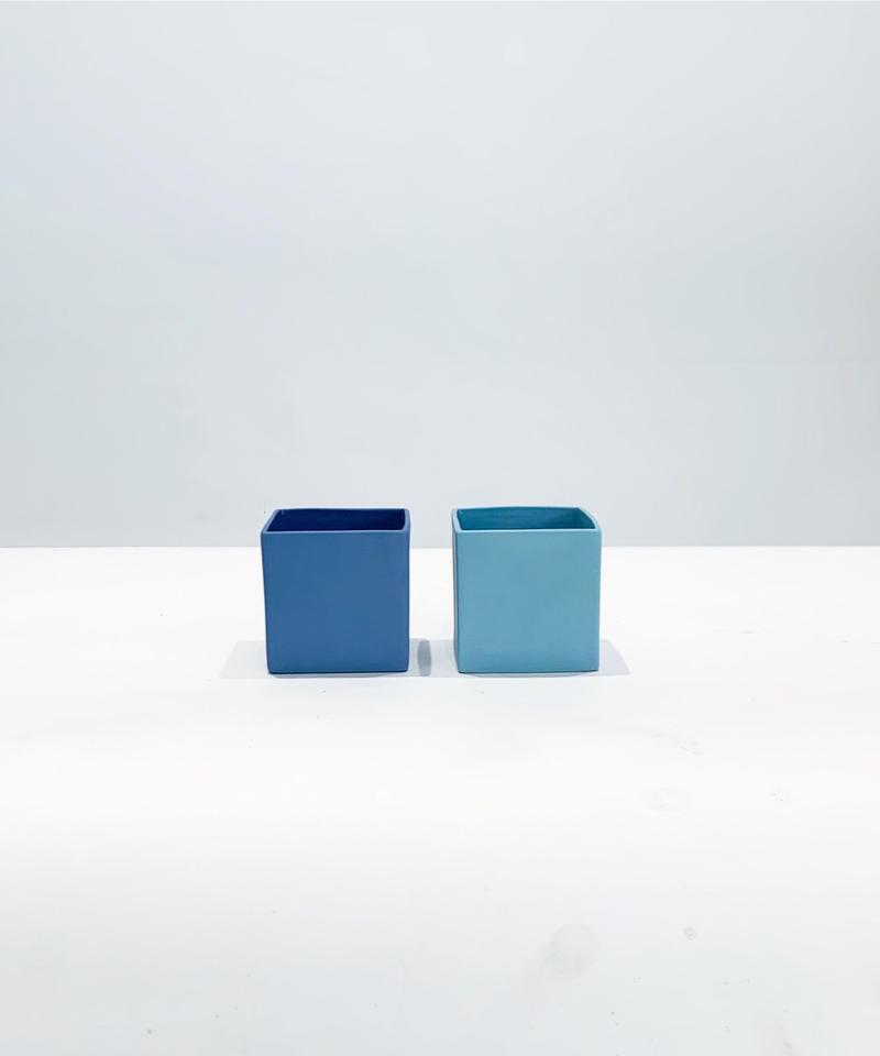ブルースクエアフラワーベース   キューブS S