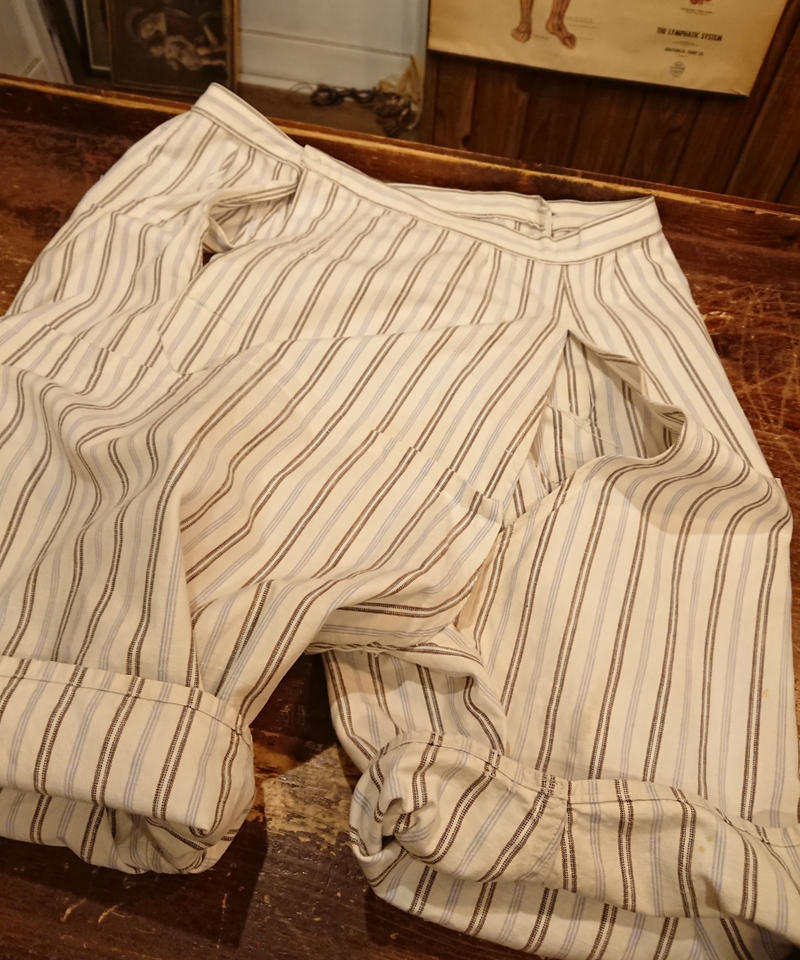 1950s~  French striped cotton over pants.