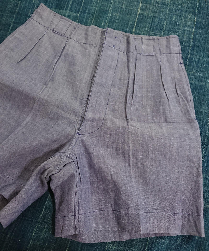 【 1950s~   French Navy 】Vintage Linen shorts.