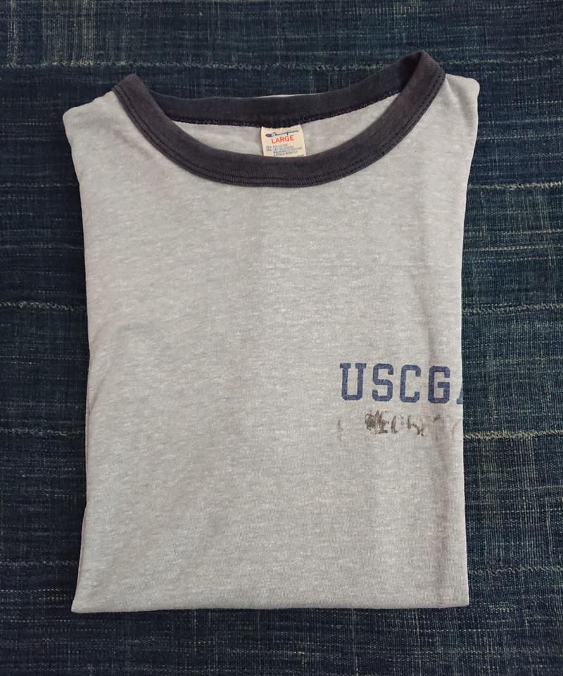 【 1980s CHAMPION 】USCGA Ringer T-shirt.