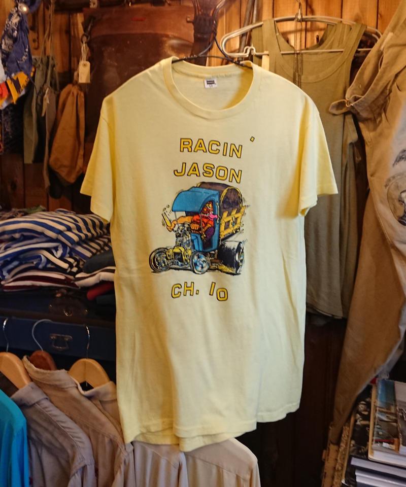 【 1970s~  Hanes 】 Hod rod print T-shirt.