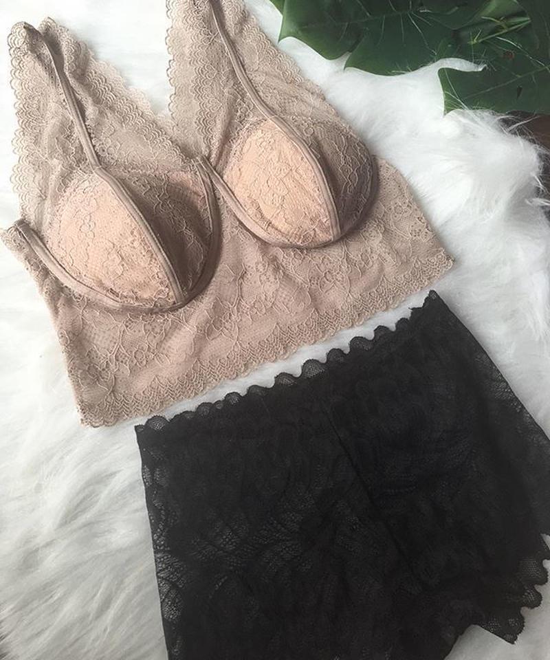 パッド付き  lace bralette  beige × black