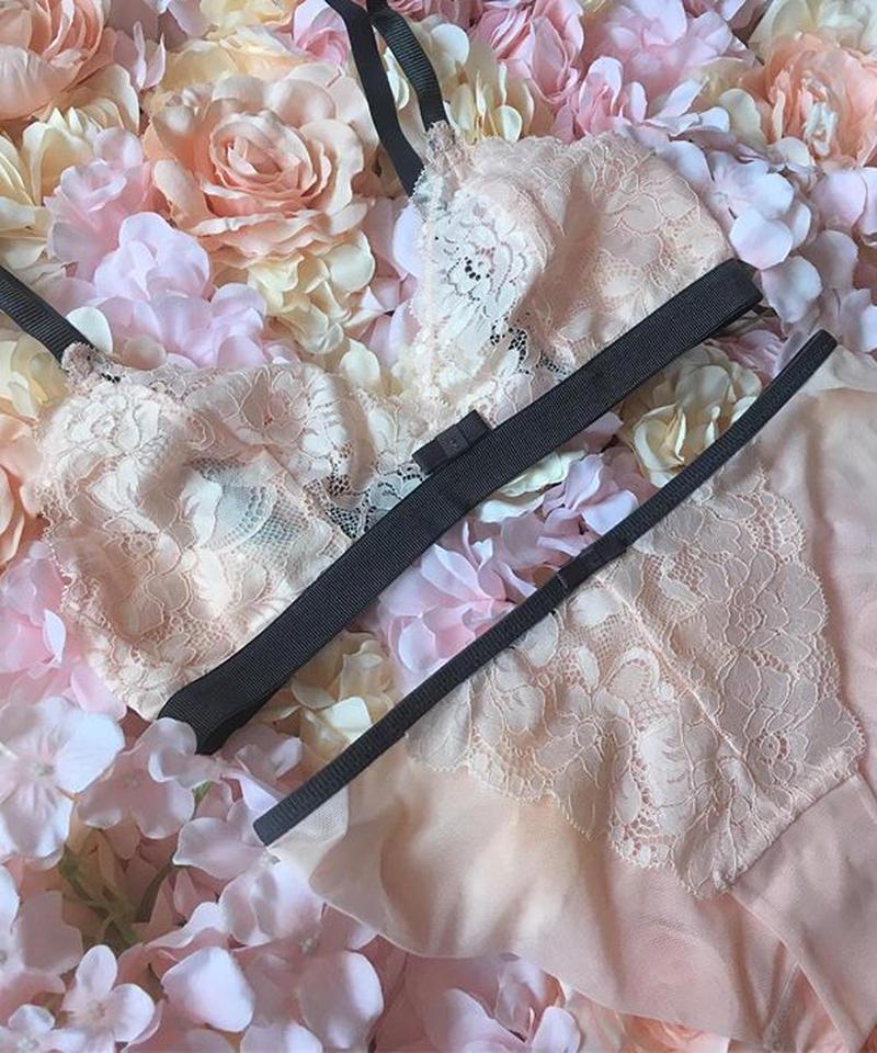 ribbon baby pink bralette set up