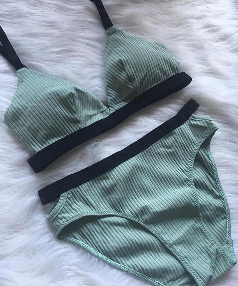 cotton mint green× black bralette set up