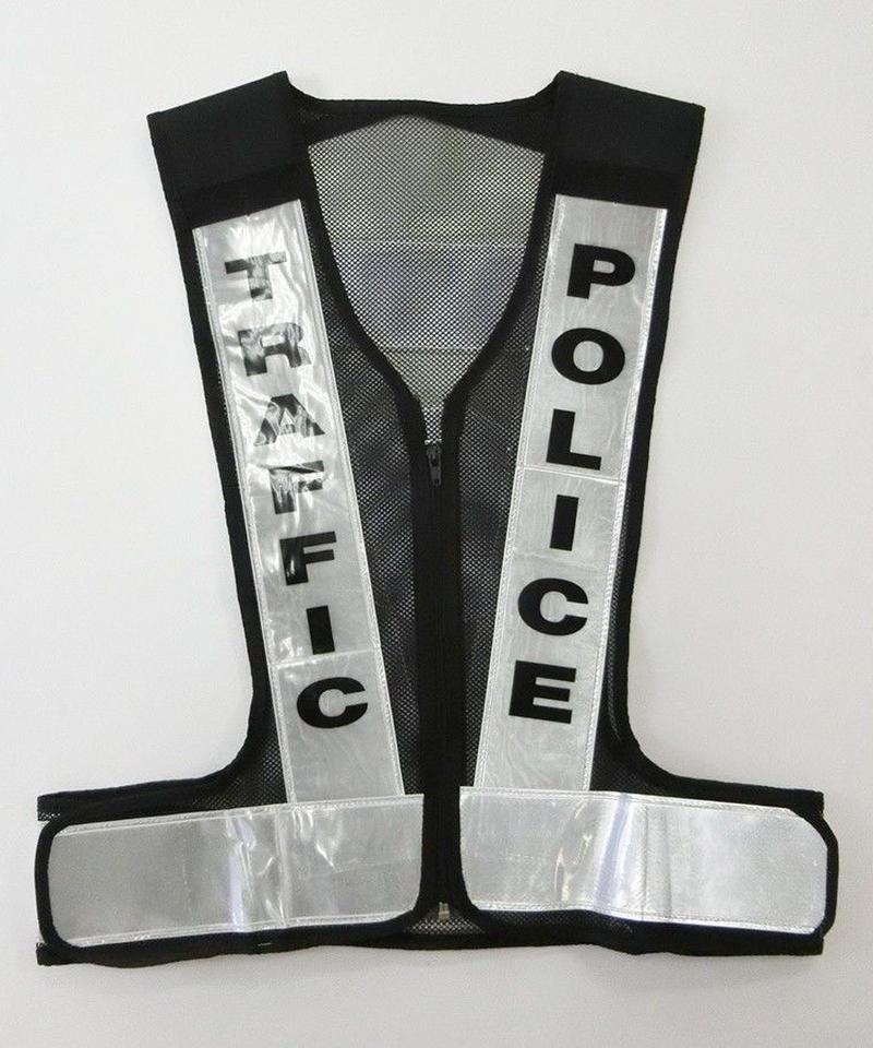 タイ交通警察メッシュビブス 黒/白
