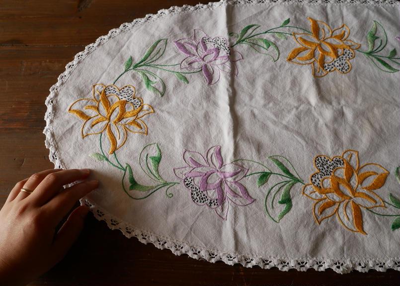 フランスアンティーク 刺繍 リネン オーバル