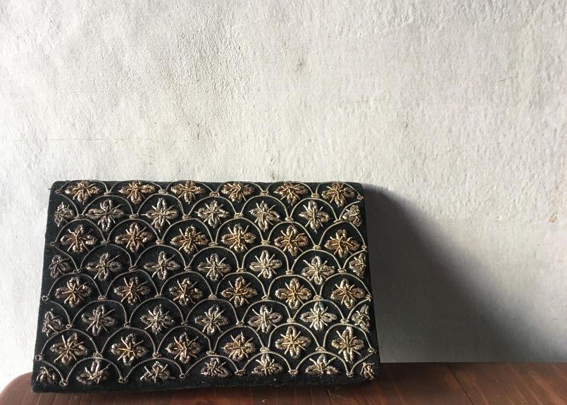仏アンティーク ベルベット 財布 パーティバッグ