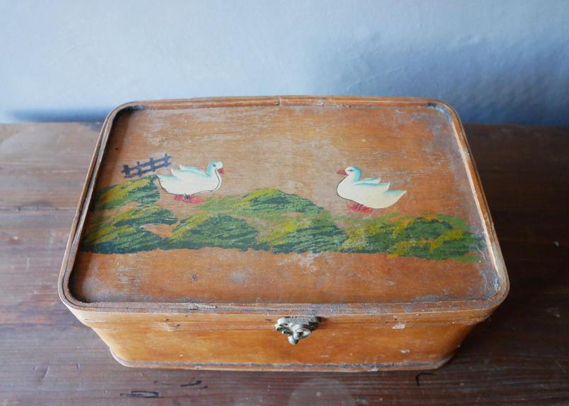 hand paint 鳥の絵 フランスの古い箱 ブロカント